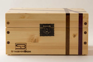 Front view of Pine StashhBox 2.0 with exotic hardwood inlays
