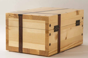 Side view of Pine StashhBox 2.0 with exotic hardwood inlays