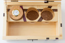 Load image into Gallery viewer, Inside Pine StashhBox 2.0 with exotic hardwood inlays and StashhJar in rack