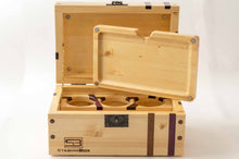 Load image into Gallery viewer, Open Pine StashhBox 2.0 with exotic hardwood inlays and magnetic rolling tray on display