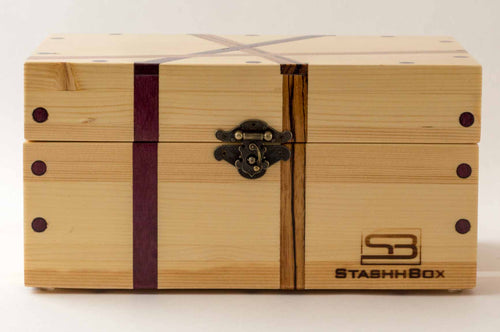 Front view of pine StashhBox 2.0 with exotic wood inlays