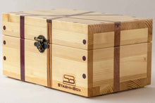 Load image into Gallery viewer, Side view of pine StashhBox 2.0 with exotic wood inlays
