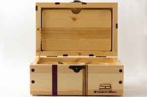 Front view of pine StashhBox 2.0 with exotic wood inlays, lid open.