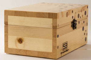 Side view of pine StashhBox 2.0 with exotic wood inlays