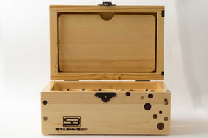 Front view of pine StashhBox 2.0 with exotic wood inlays and open lid