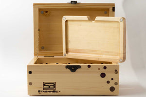 Front view of pine StashhBox 2.0 with exotic wood inlays and open lid, rolling tray on display