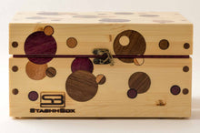 Load image into Gallery viewer, Front view of pine StashhBox Daily Toker 2.0 with exotic wood inlays