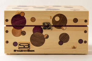 Front view of pine StashhBox Daily Toker 2.0 with exotic wood inlays