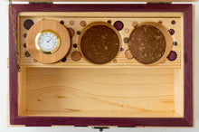 Load image into Gallery viewer, Inside  pine StashhBox Daily Toker 2.0 with exotic wood inlays and StashhJar in rack