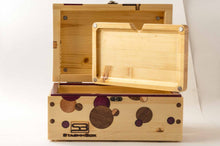 Load image into Gallery viewer, Open pine StashhBox Daily Toker 2.0 with exotic wood inlays and magnetic rolling tray on display