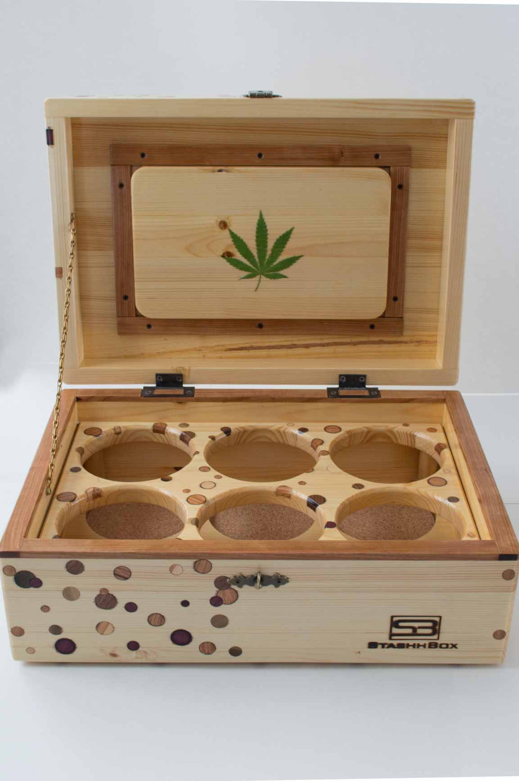 Front view of an open Chronic Toker StashhBox,