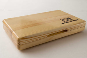 Front view of closed pine wood StashhTray