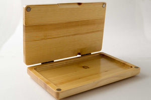 Front view of open pine wood StashhTray