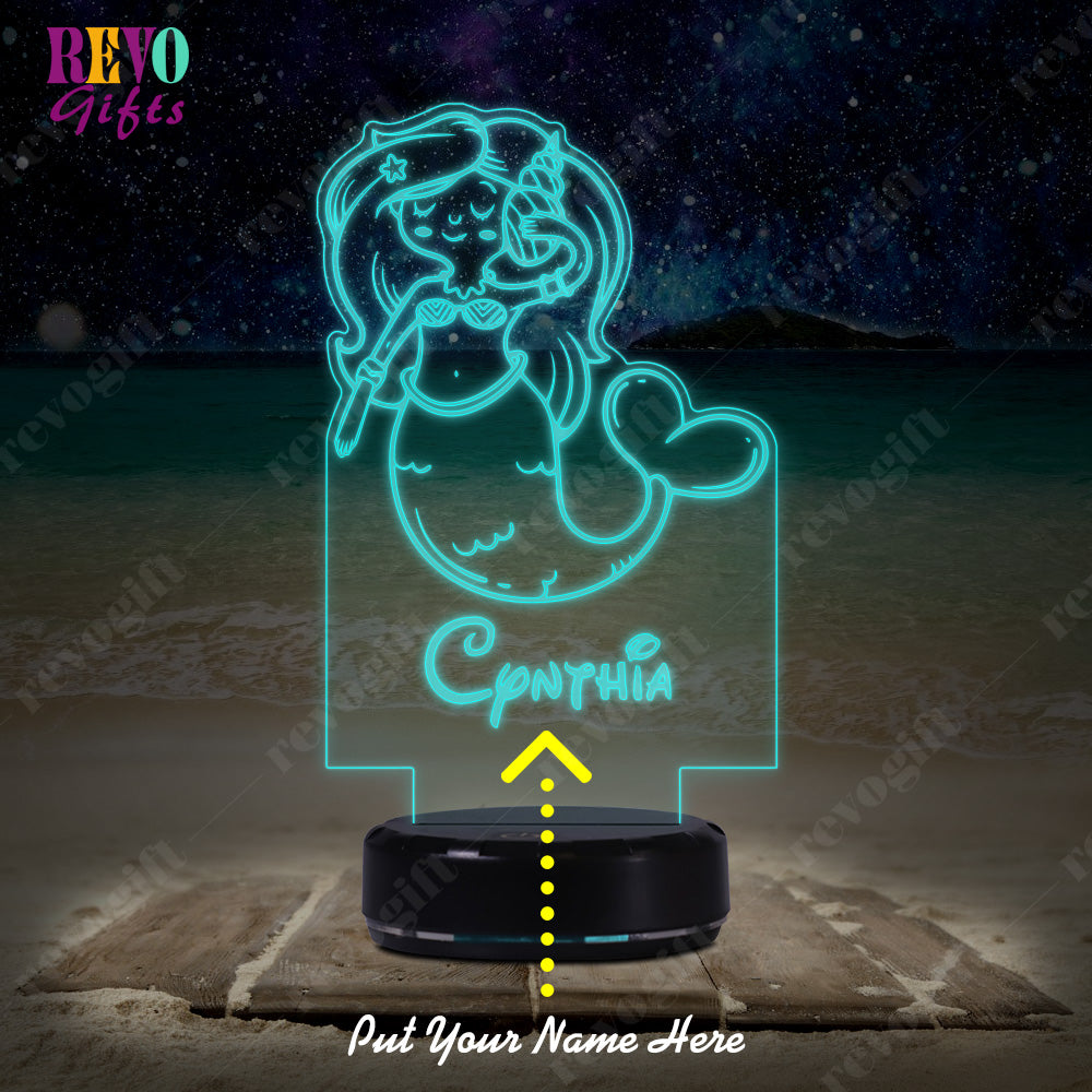Personalized Cartoon Mermaid LED Lamp