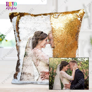 Put Your Photo on A Reversible Sequins Cushion