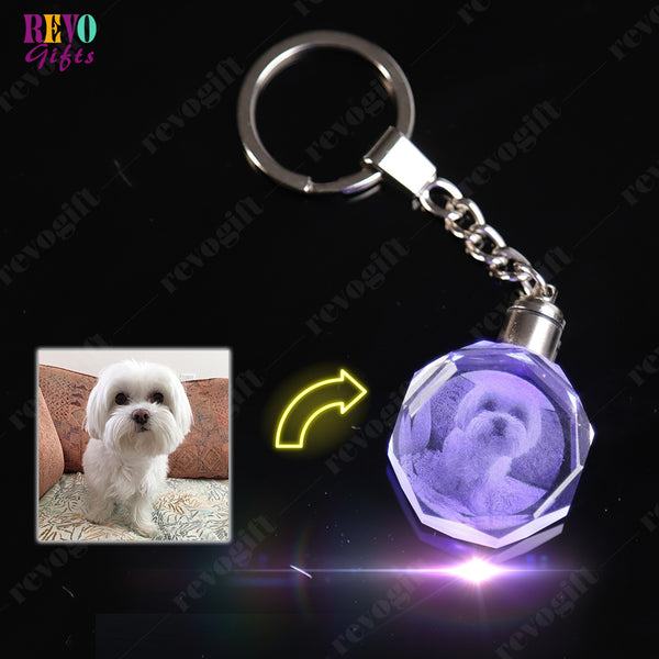 Custom Crystal Keychain with 7-Color Changing Led Lights
