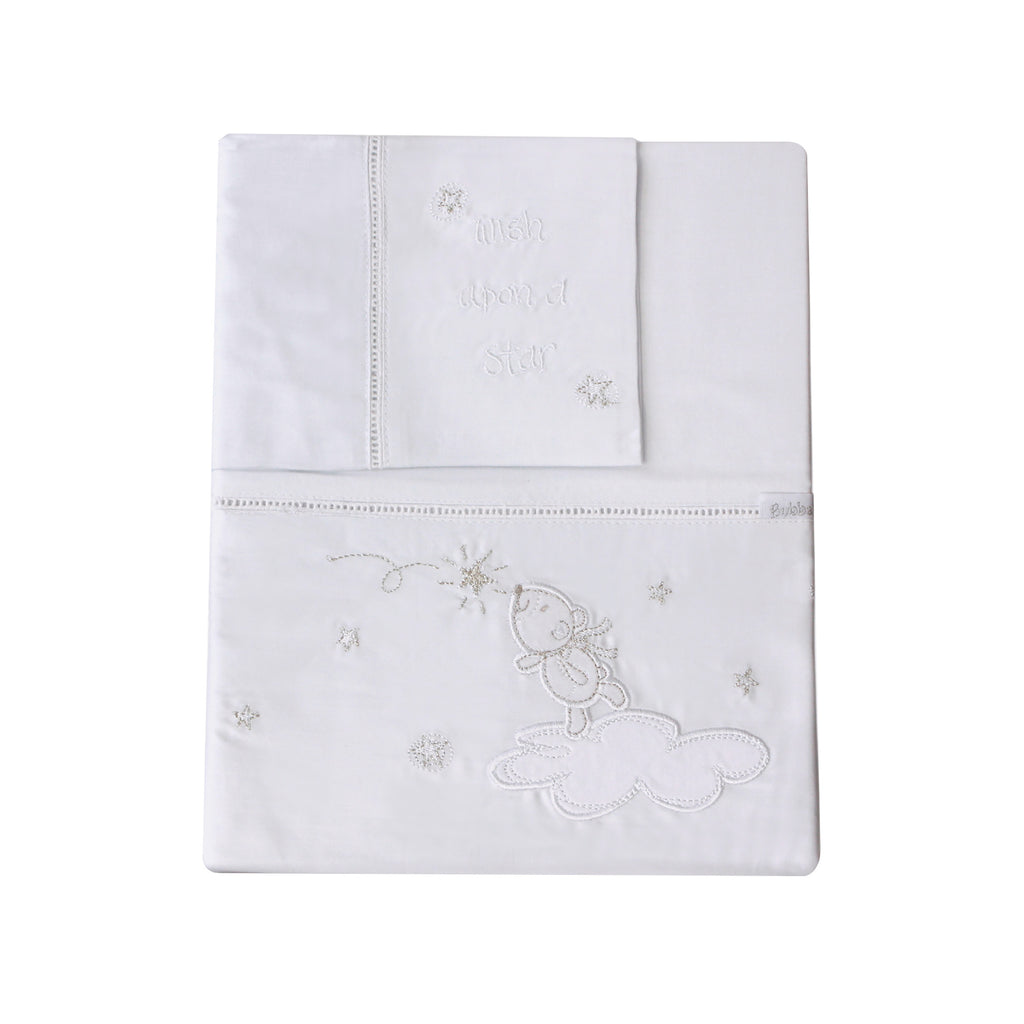 Wish Upon A Star Embroidered Cot Sheet Set - Bubba Blue Australia