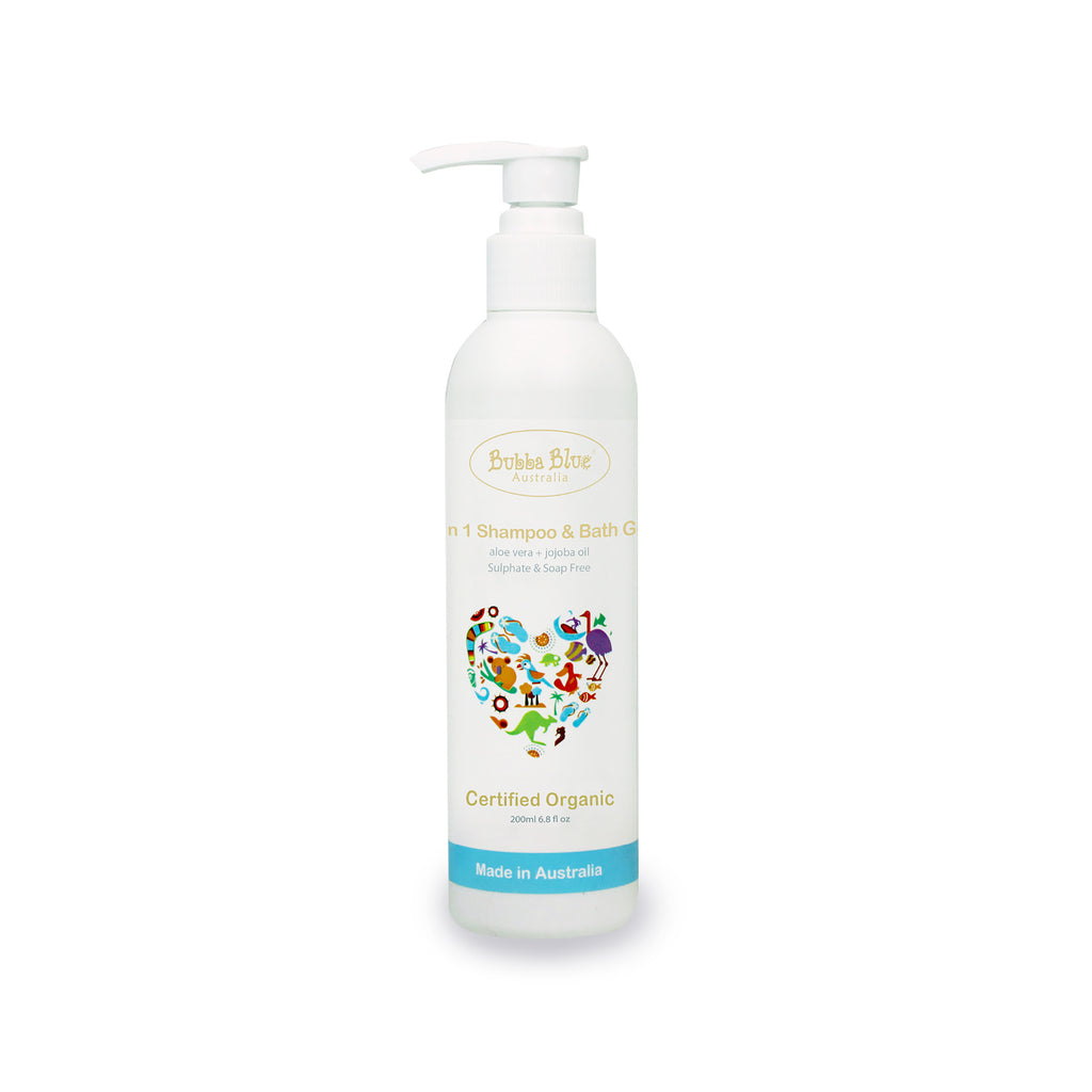 2 in 1 Organic Baby Shampoo and Bath Gel - Bubba Blue Australia