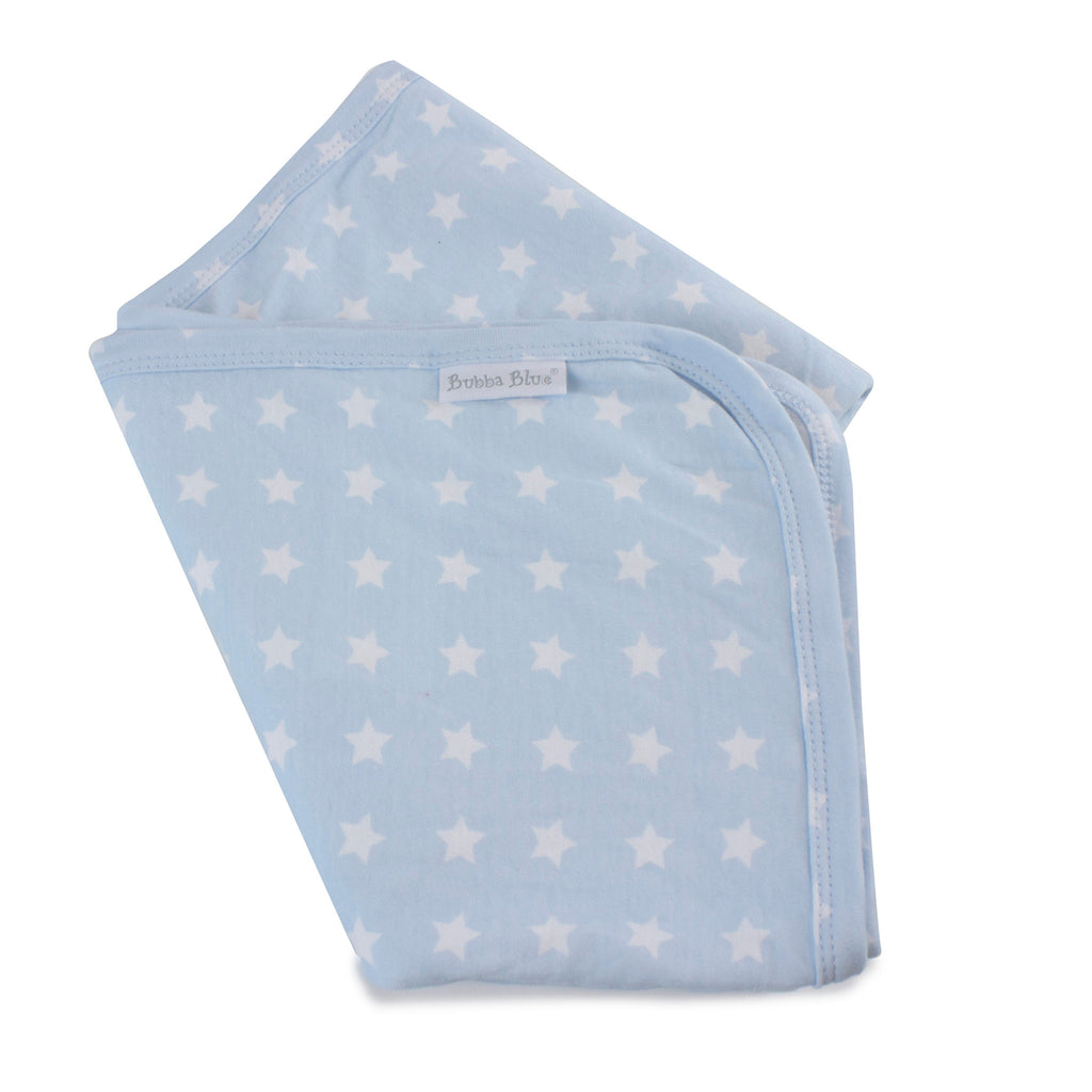Everyday Essentials Jersey Swaddle Wrap - Blue with White Stars - Bubba Blue Australia