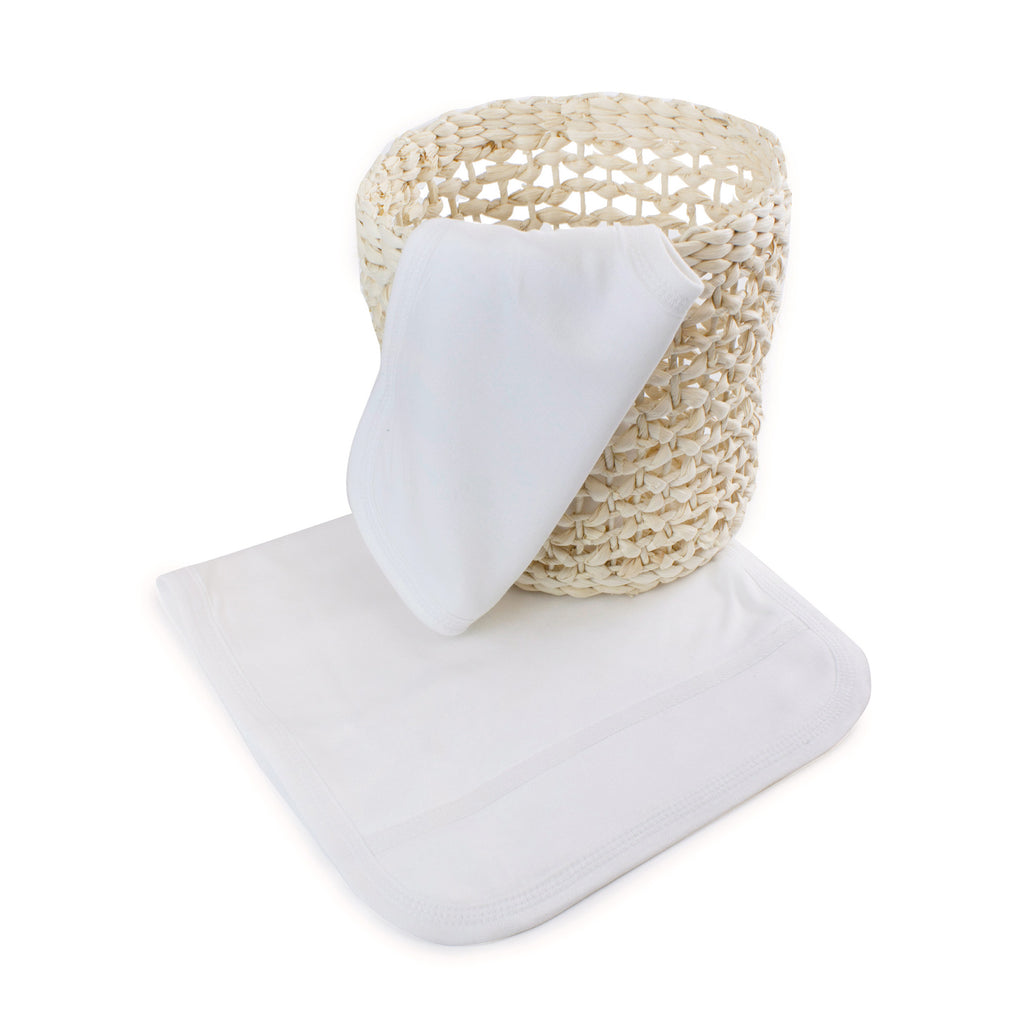 Bamboo White Bib & Burp Cloth Set
