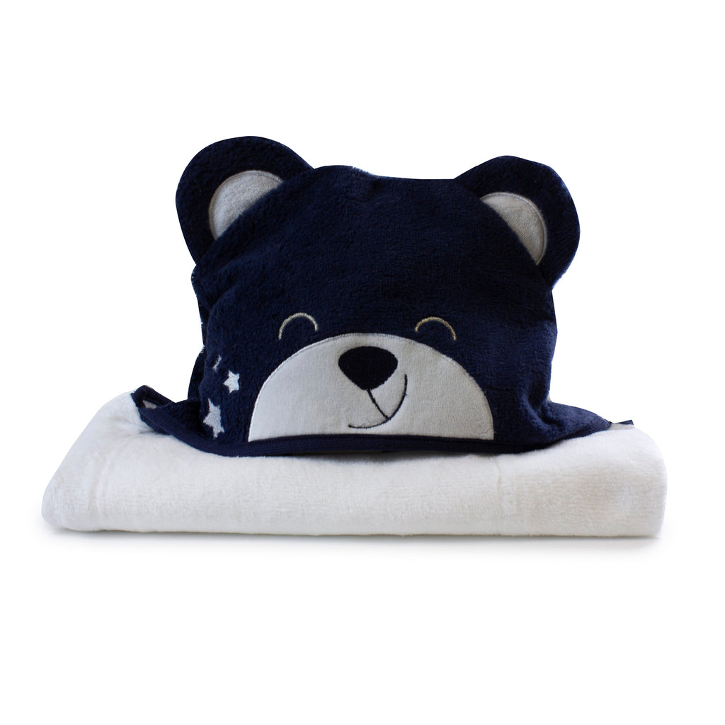 Navy Wish Upon a Star Novelty Hooded Bath Towel