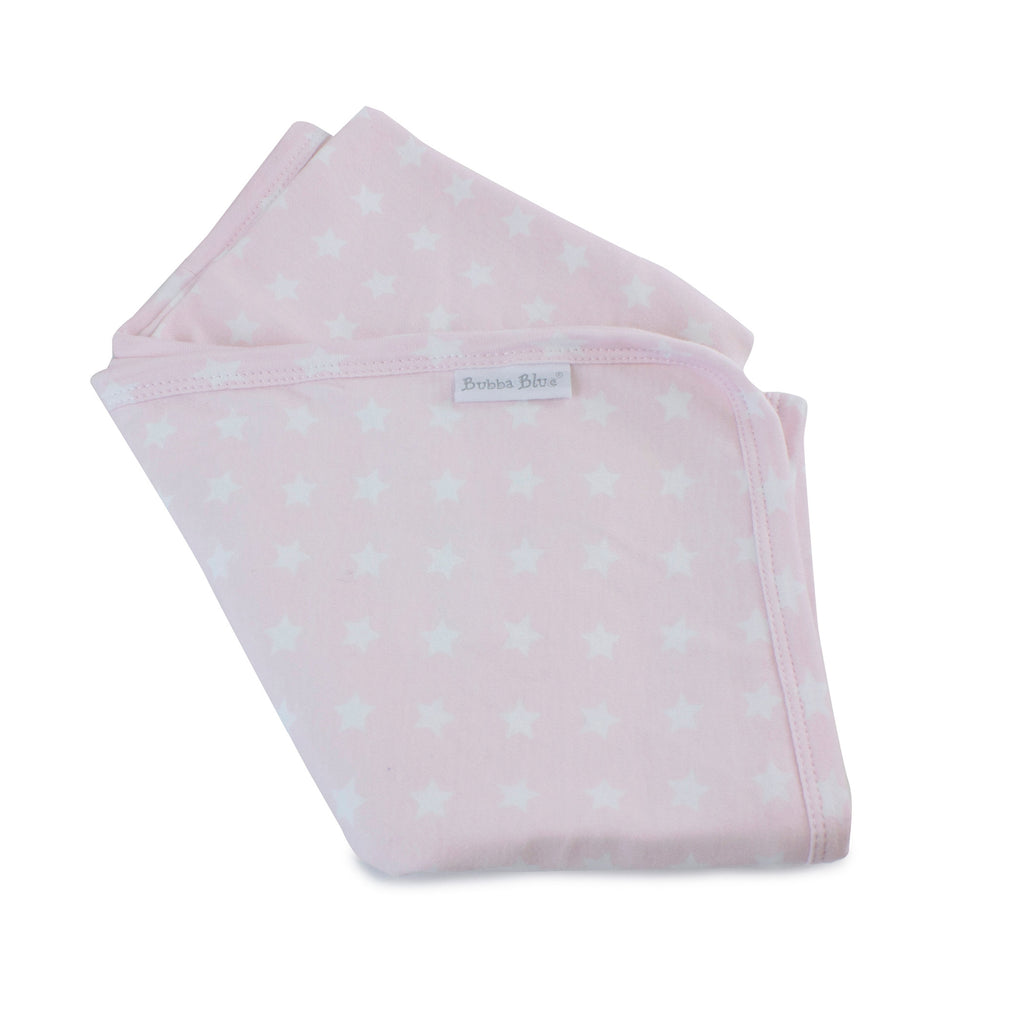 Everyday Essentials Jersey Swaddle Wrap - Pink with White Stars - Bubba Blue Australia