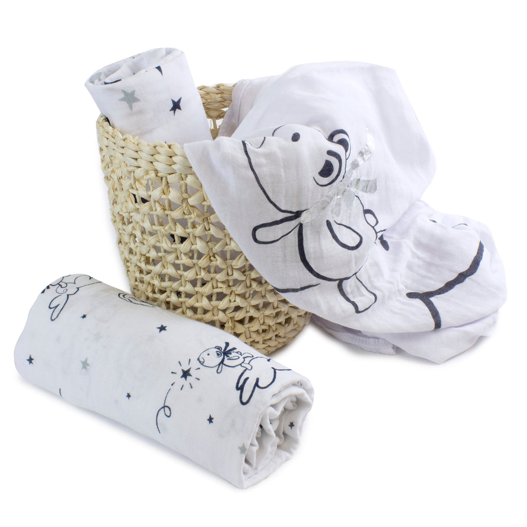 Navy Wish Upon A Star 3pk Muslin Wraps