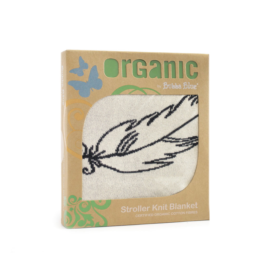 Organic Feathers Cotton Stroller Knit Blanket - Bubba Blue Australia