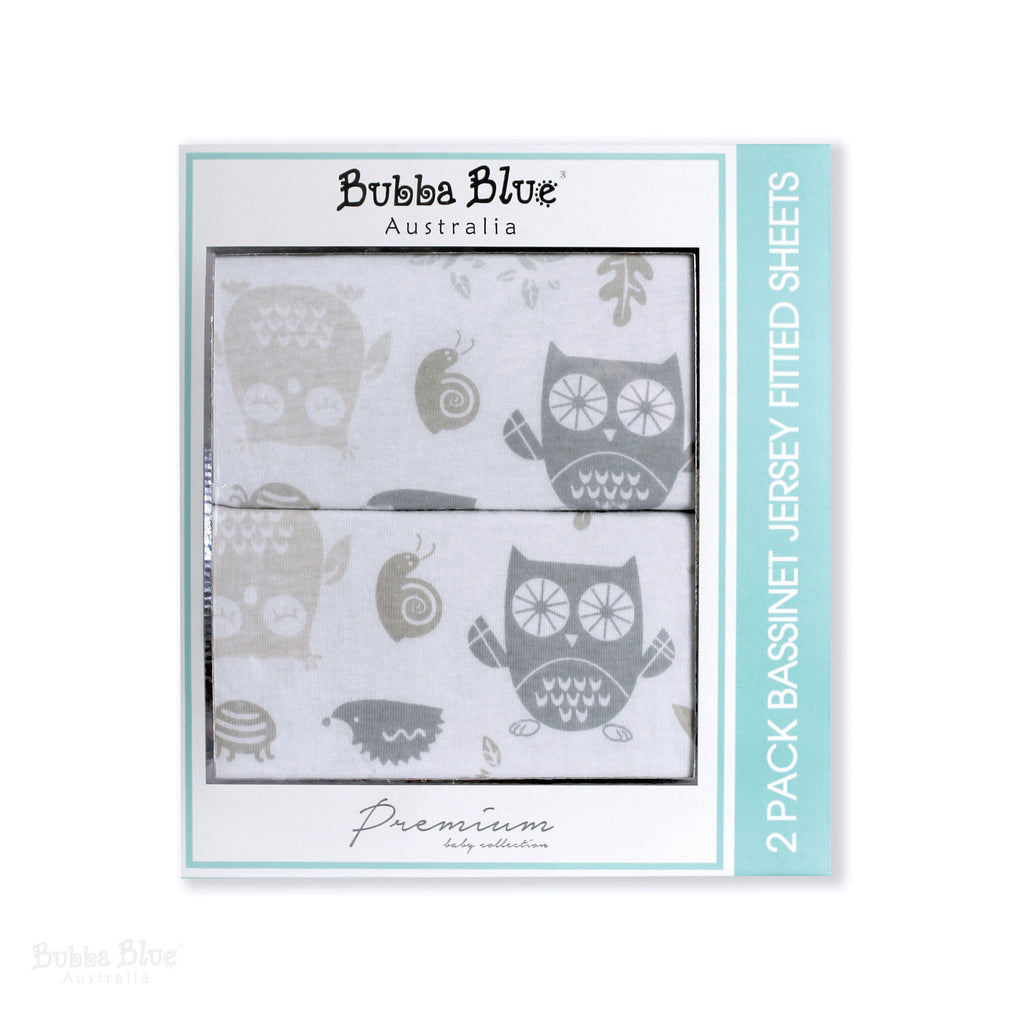 Mod the Owl 2pk Bassinet Jersey Fitted Sheets - Bubba Blue Australia