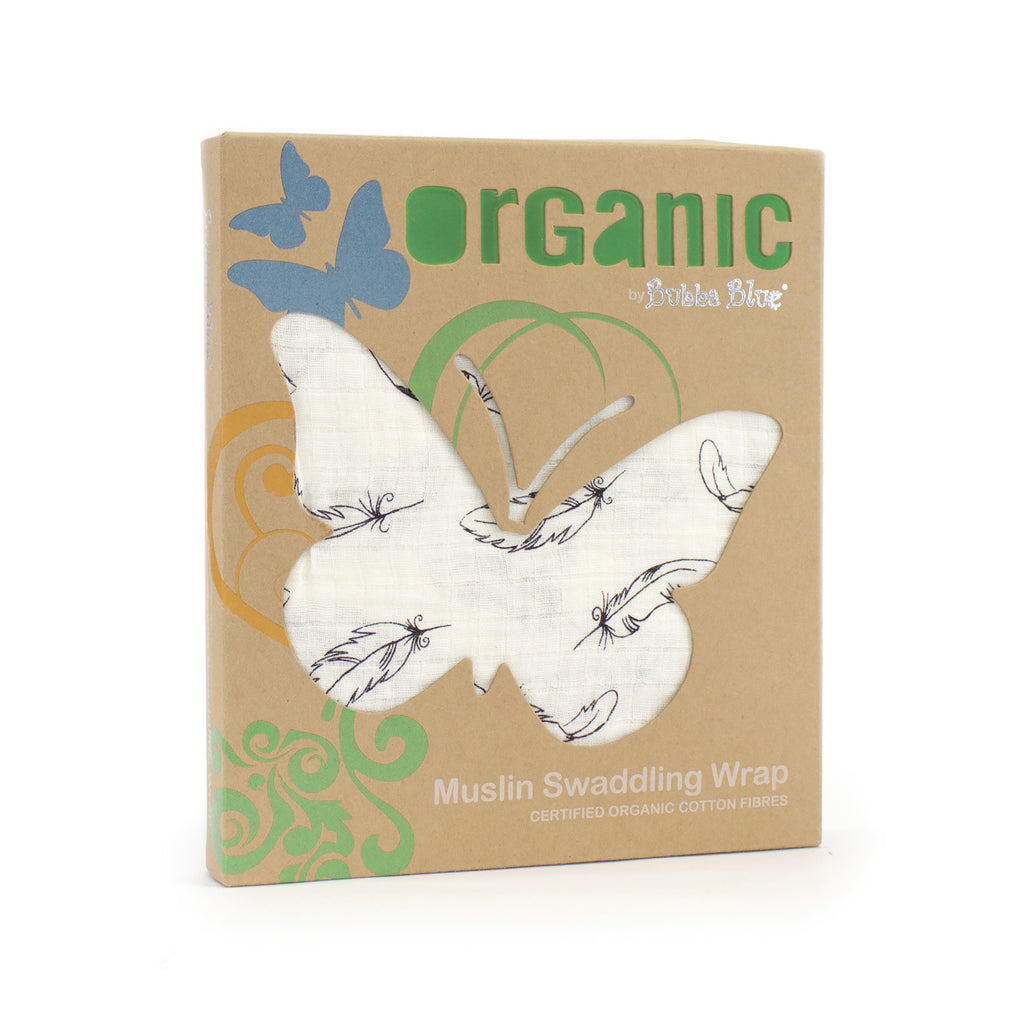 2 for 1 Organic Feathers Cotton Muslin Swaddling Wrap - Bubba Blue Australia