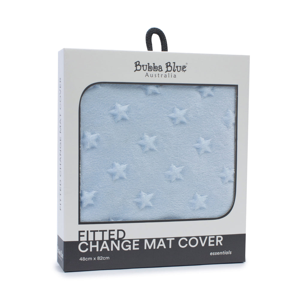 Everyday Essentials Fitted Change Mat Cover - Blue (star) - Bubba Blue Australia