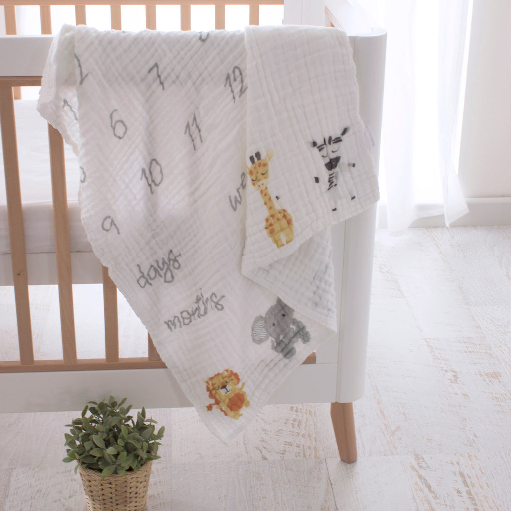 Zoo Animals Milestone Muslin Blanket - Bubba Blue Australia