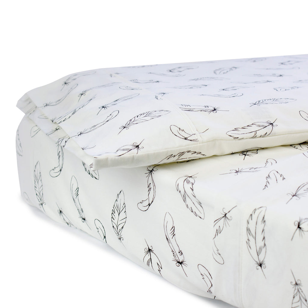 Organic Feathers Cotton 3pcs Cot Sheet Set - Bubba Blue Australia