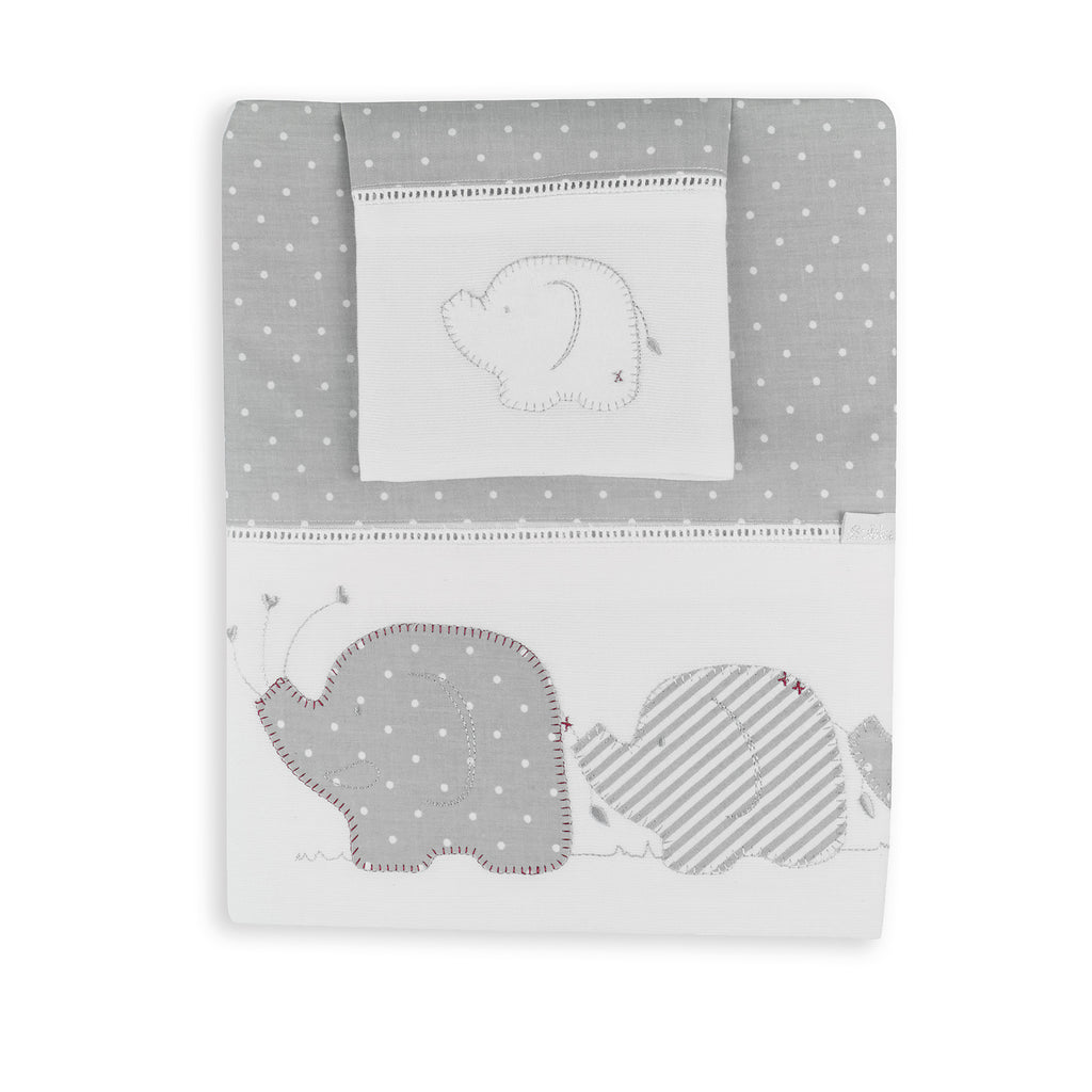 Petit Elephant Embroidered Cot Sheet Set - Bubba Blue Australia