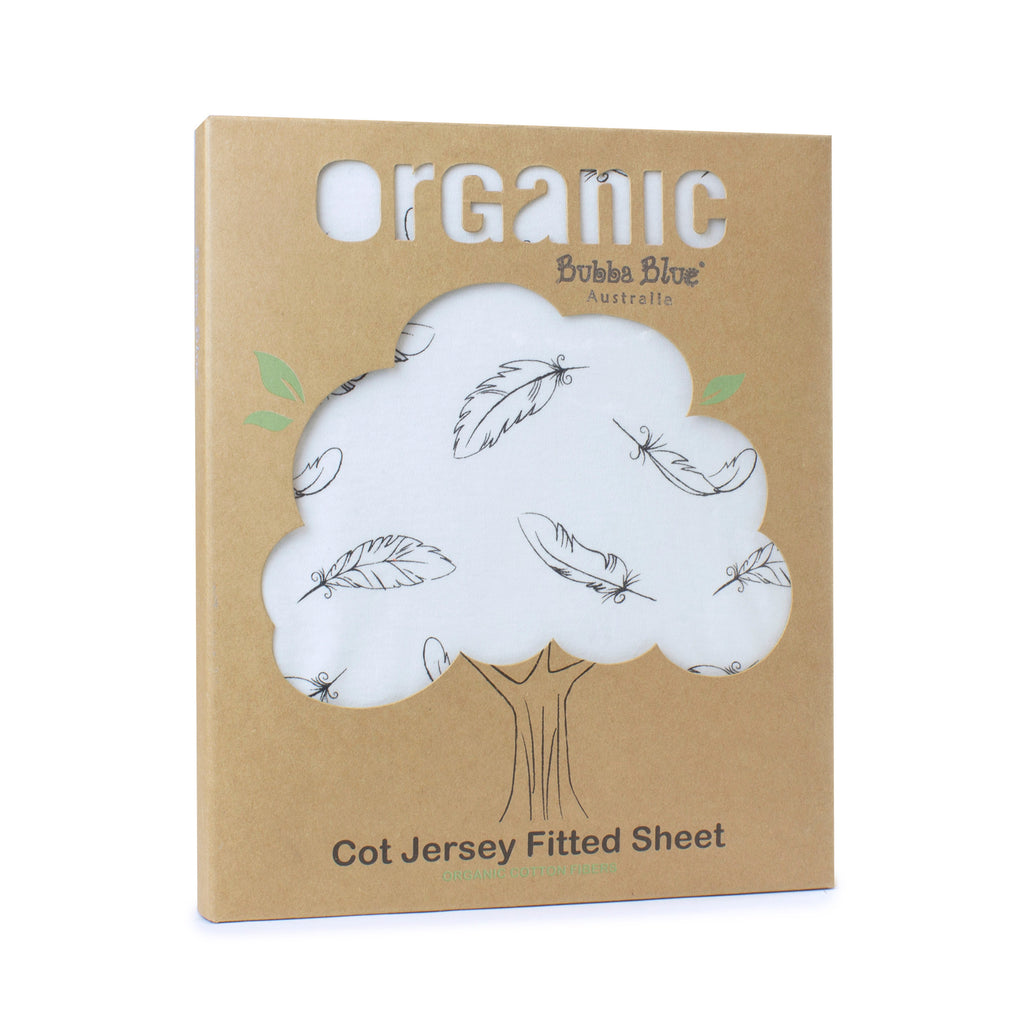 Organic Feathers Cotton Jersey Cot Fitted Sheet - Bubba Blue Australia