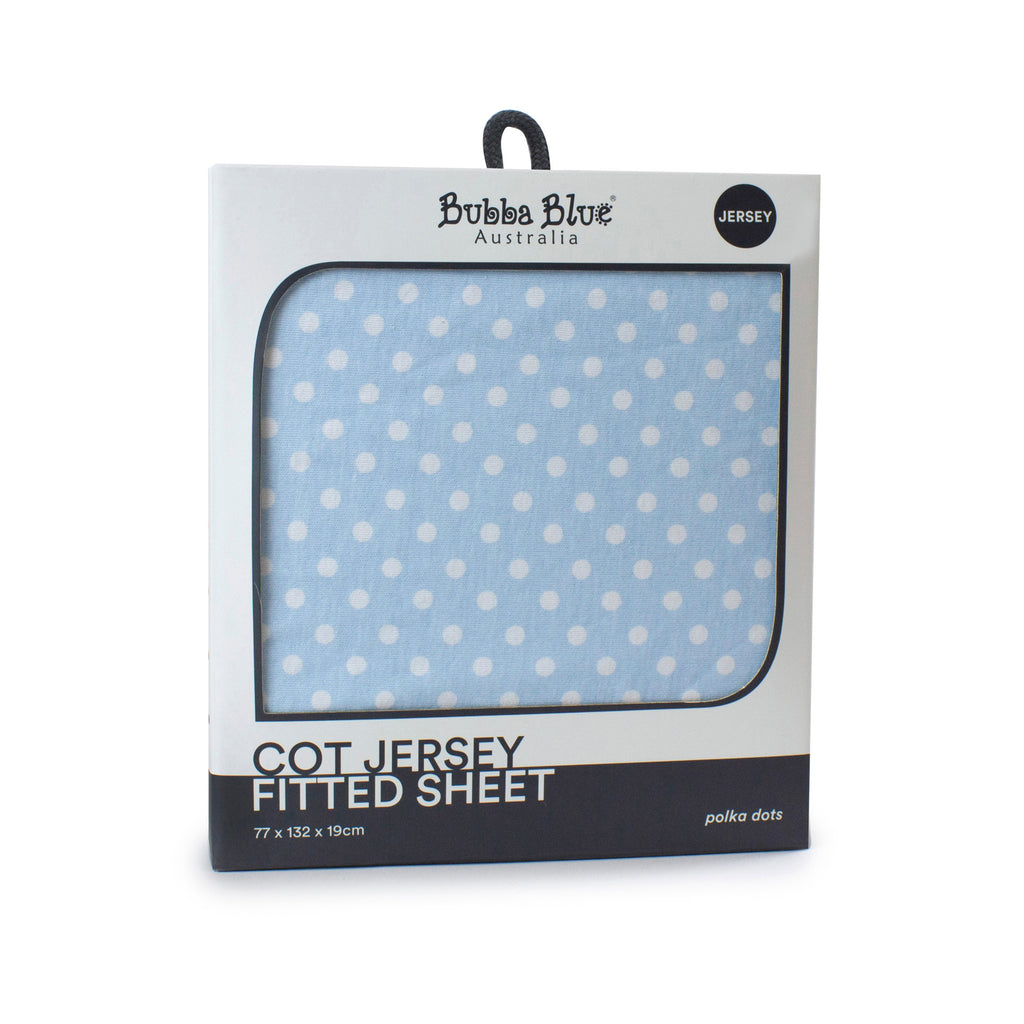 Blue Polka Dots Cot Jersey Fitted Sheet - Bubba Blue Australia
