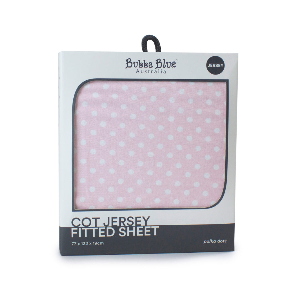 Pink Polka Dots Cot Jersey Fitted Sheet - Bubba Blue Australia
