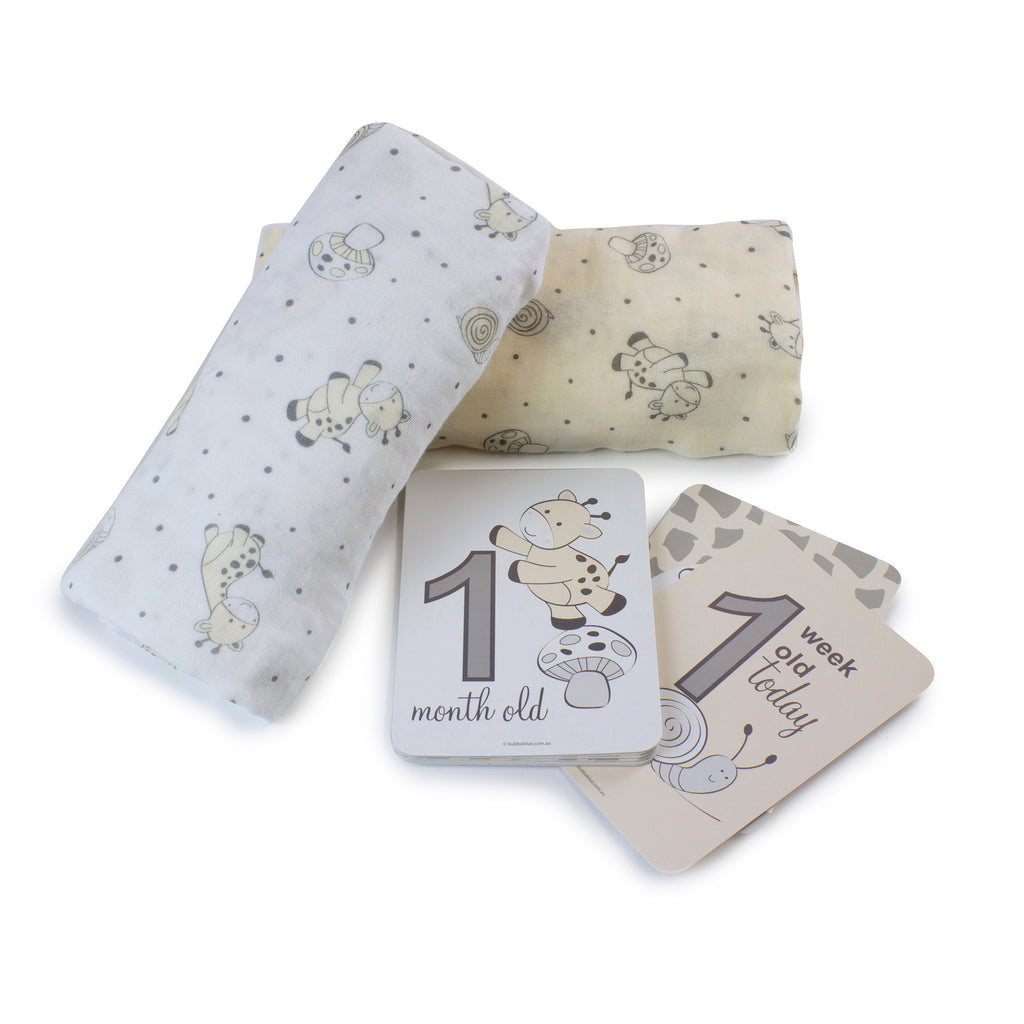 Vanilla Playtime 2pk Muslin Wraps With Milestone Card - Bubba Blue Australia