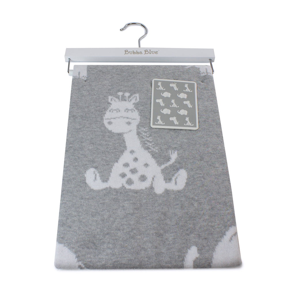 Animal Cotton Knit Blanket - Grey - Bubba Blue Australia