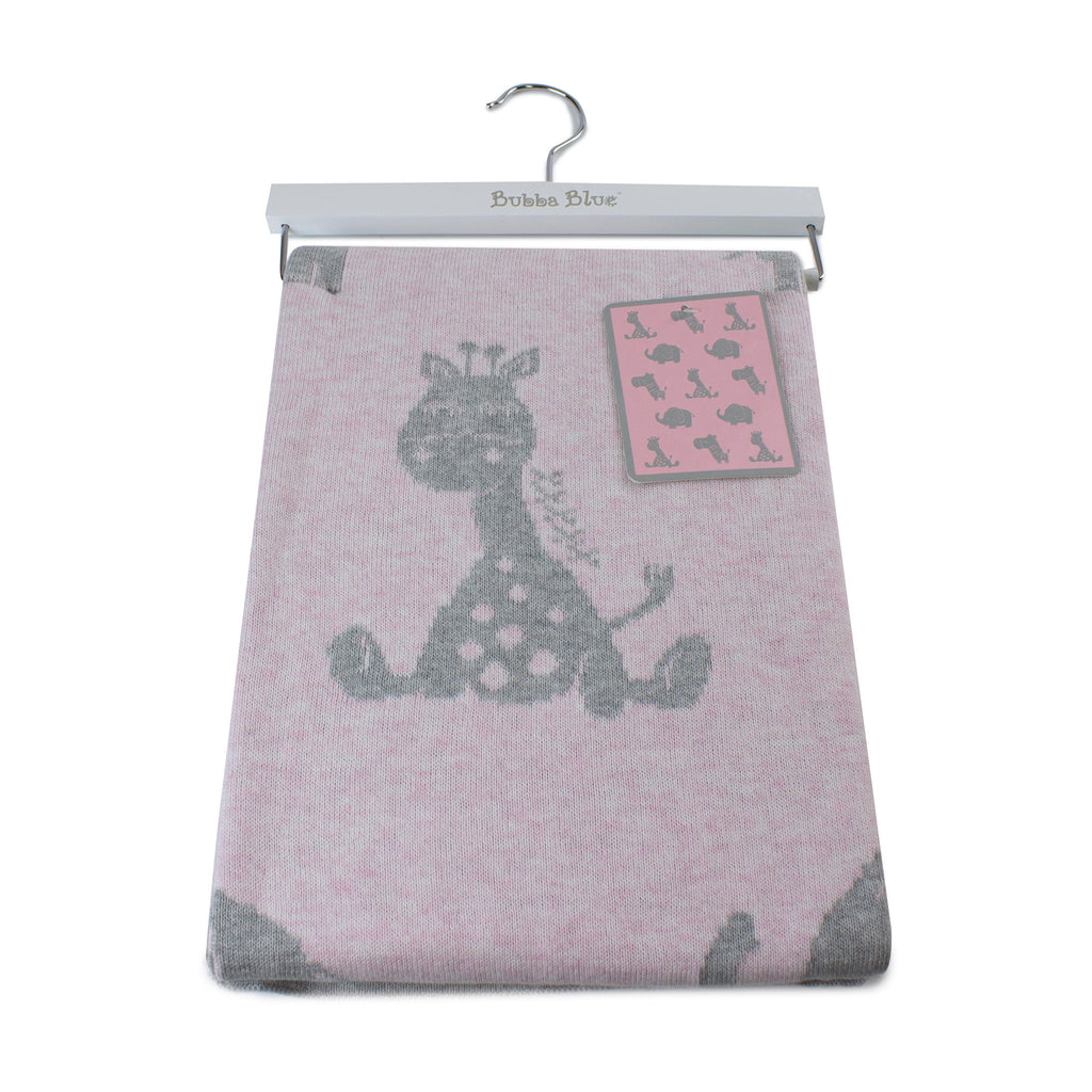 Animal Cotton Knit Blanket - Pink - Bubba Blue Australia