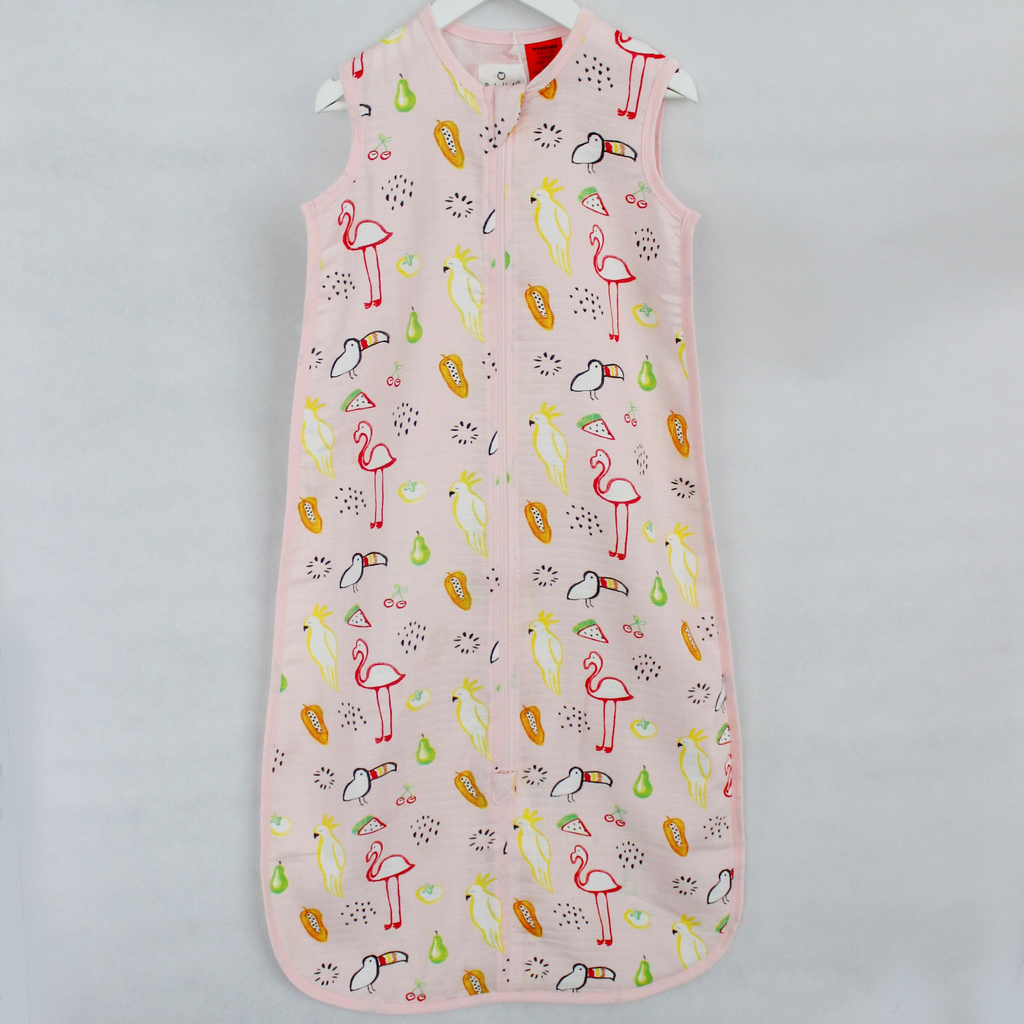 Buy One Get One Free Bamboo Muslin Sleep Bag 0.5 TOG Watercolour Paradise - Bubba Blue Australia