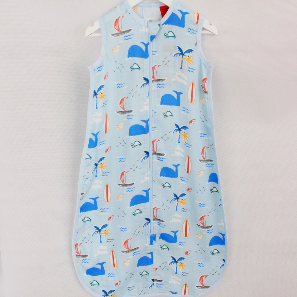 Bamboo Muslin Sleep Bag 0.5 TOG Watercolour Tropical - Bubba Blue Australia