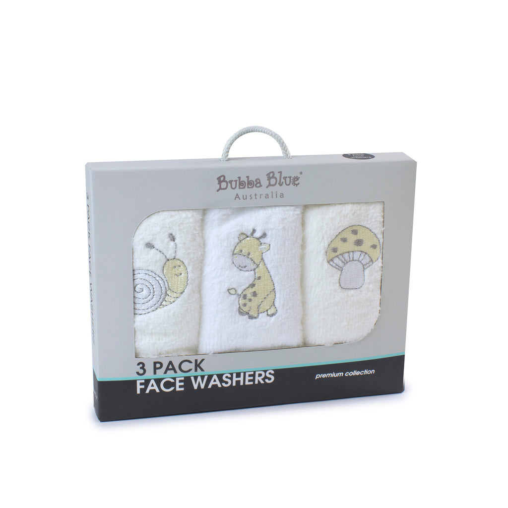 Vanilla Playtime 3pk Face Washers - Bubba Blue Australia