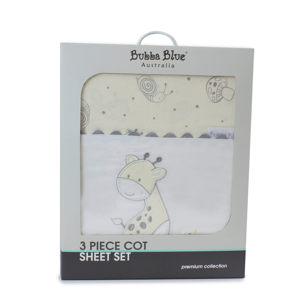 Vanilla Playtime 3pcs Cot Sheet Set - Bubba Blue Australia