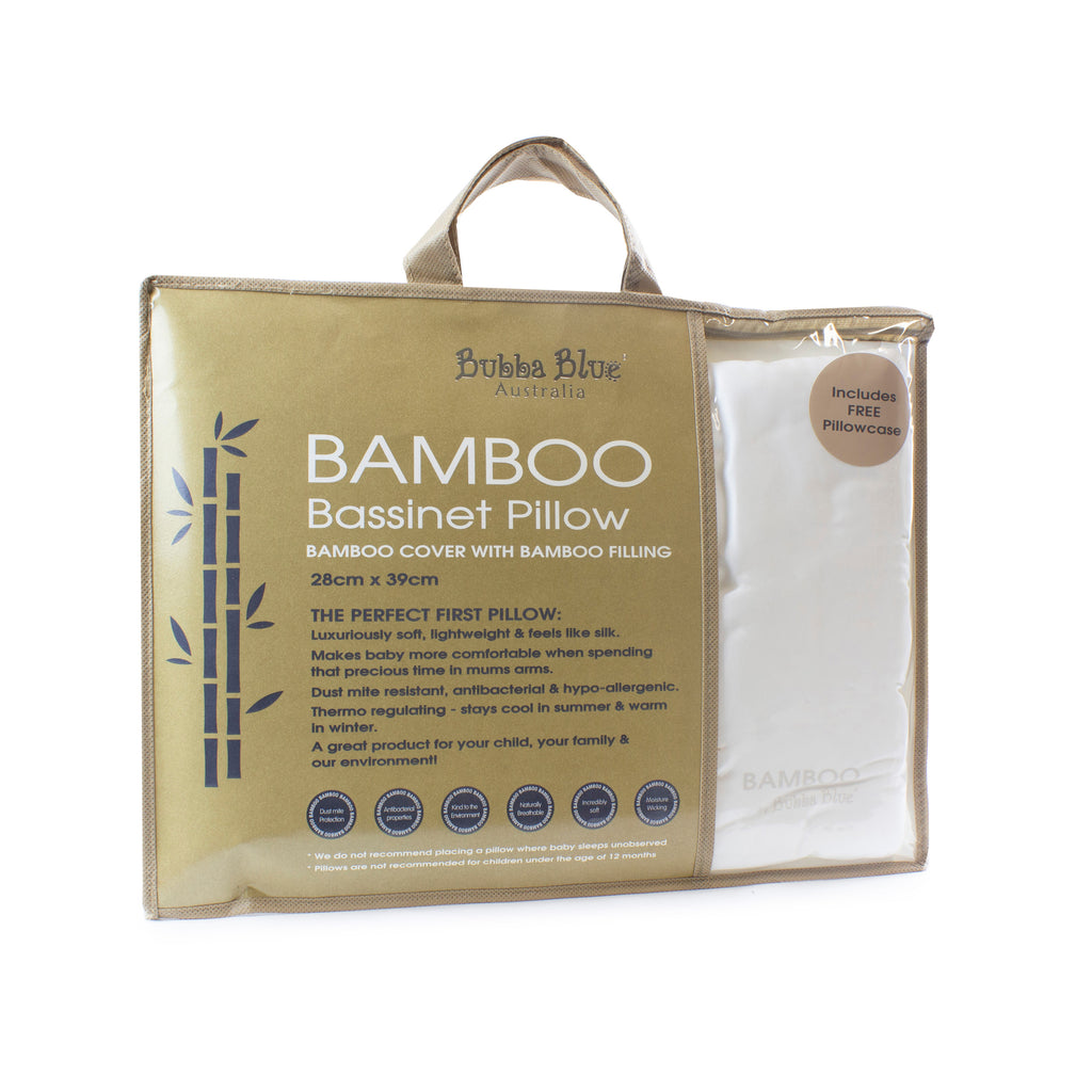 Bamboo White Bassinet Pillow (includes pillowcase) - Bubba Blue Australia