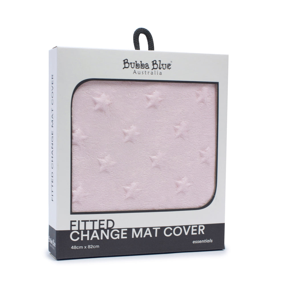 Everyday Essentials Fitted Change Mat Cover - Pink (star) - Bubba Blue Australia