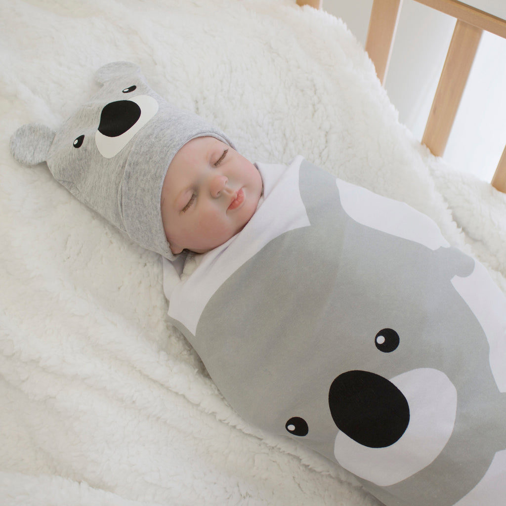 Aussie Animals Koala Swaddling Stretchie & Novelty Beanie Set