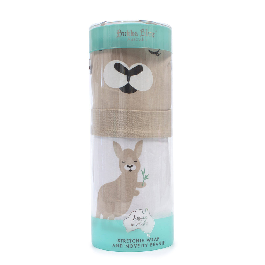 Aussie Animals Kangaroo Swaddling Stretchie & Novelty Beanie Set - Bubba Blue Australia