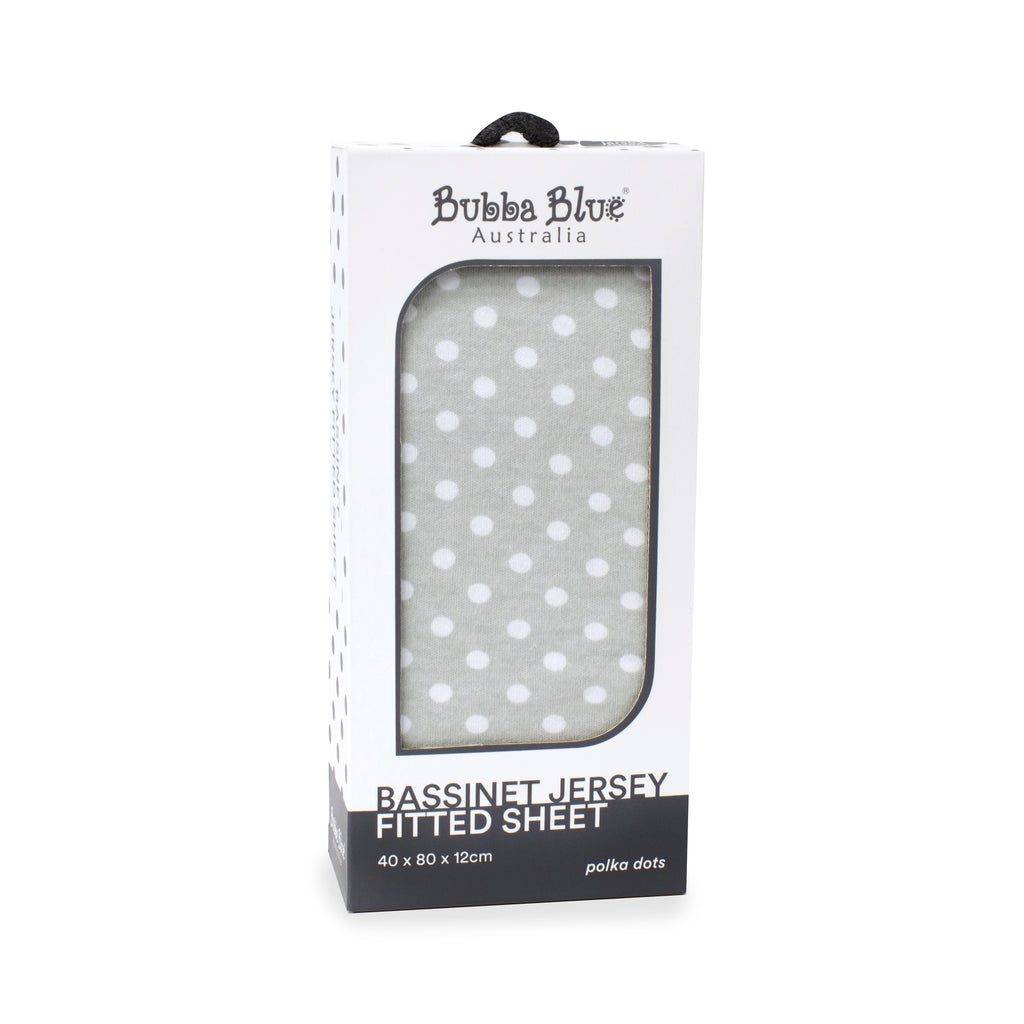 Grey Polka Dots Bassinet Jersey Fitted Sheet - Bubba Blue Australia
