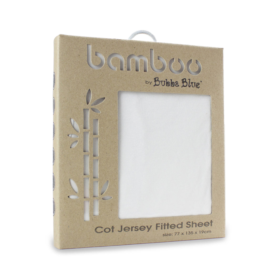 Bamboo White Jersey Cot Fitted Sheet - Bubba Blue Australia